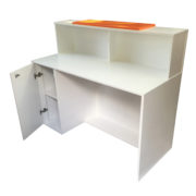 White Reception Desk With Bespoke Front