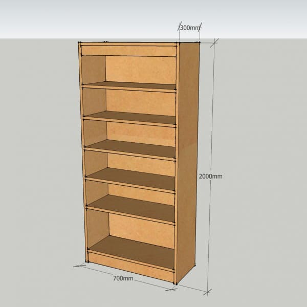 Modular Bookcase Unit With 5 Adjustable Shelves