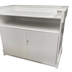 Medium Bespoke Chamfer Shop Counter With Rear Cupboard and Shelf